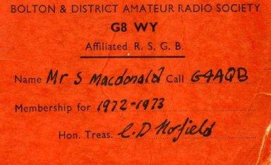 My old membership card